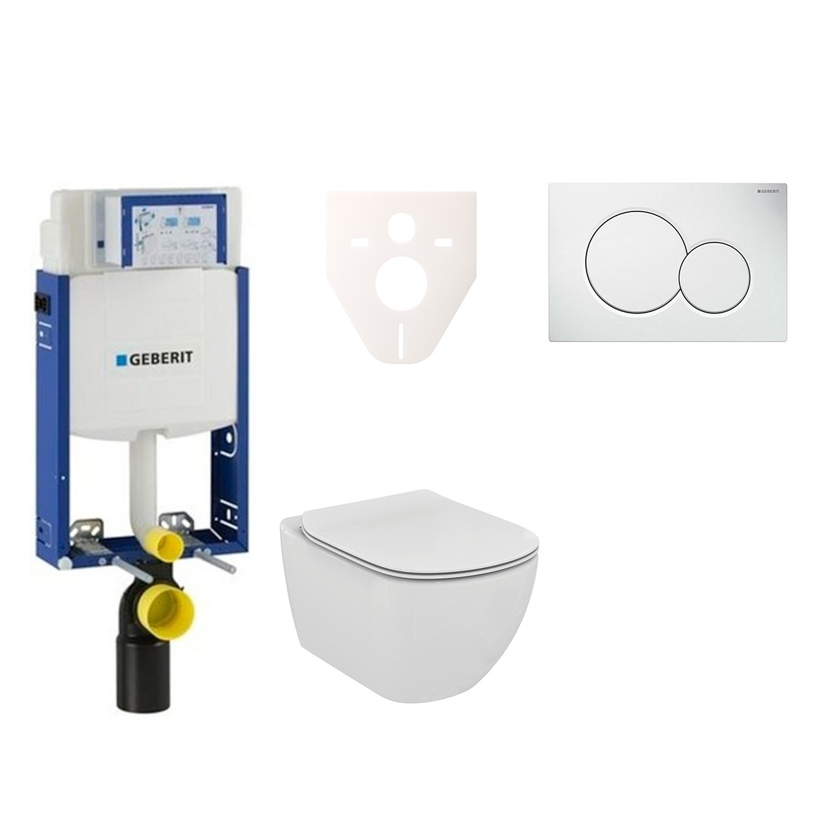 Závěsný set WC Ideal Standard Tesi + modul Geberit Kombifix s tlačítkem Sigma 01 (bílé) 110.302.00.5 NF1