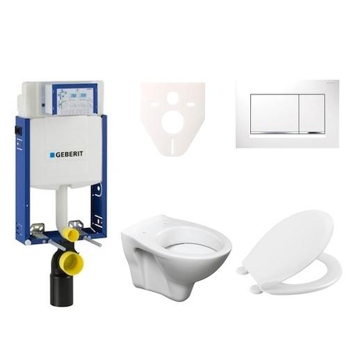 Závěsný set WC S-line + modul Geberit Kombifix s tlačítkem Sigma 30 (bílá/chrom lesk) 110.302.00.5 N