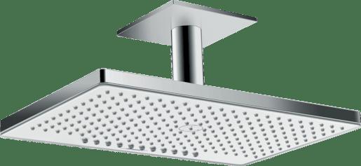Hansgrohe Rainmaker Select - Horní sprcha 460 mm 2jet, s přívodem od stropu 100 mm, EcoSmart, bílá/chrom 24014400 Hansgrohe