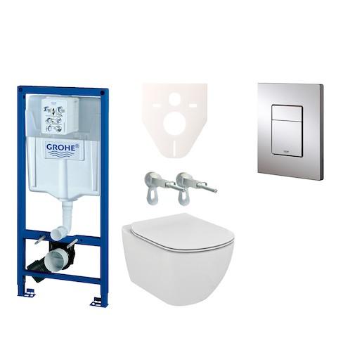 Závěsný set WC Ideal Standard Tesi + modul Grohe Rapid SL s tlačítkem Grohe Cosmo (chrom) 38528SET-K