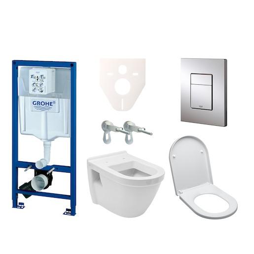 Závěsný set WC Vitra S50 + modul Grohe Rapid SL s tlačítkem Grohe Cosmo (chrom) 38528SET-KH
