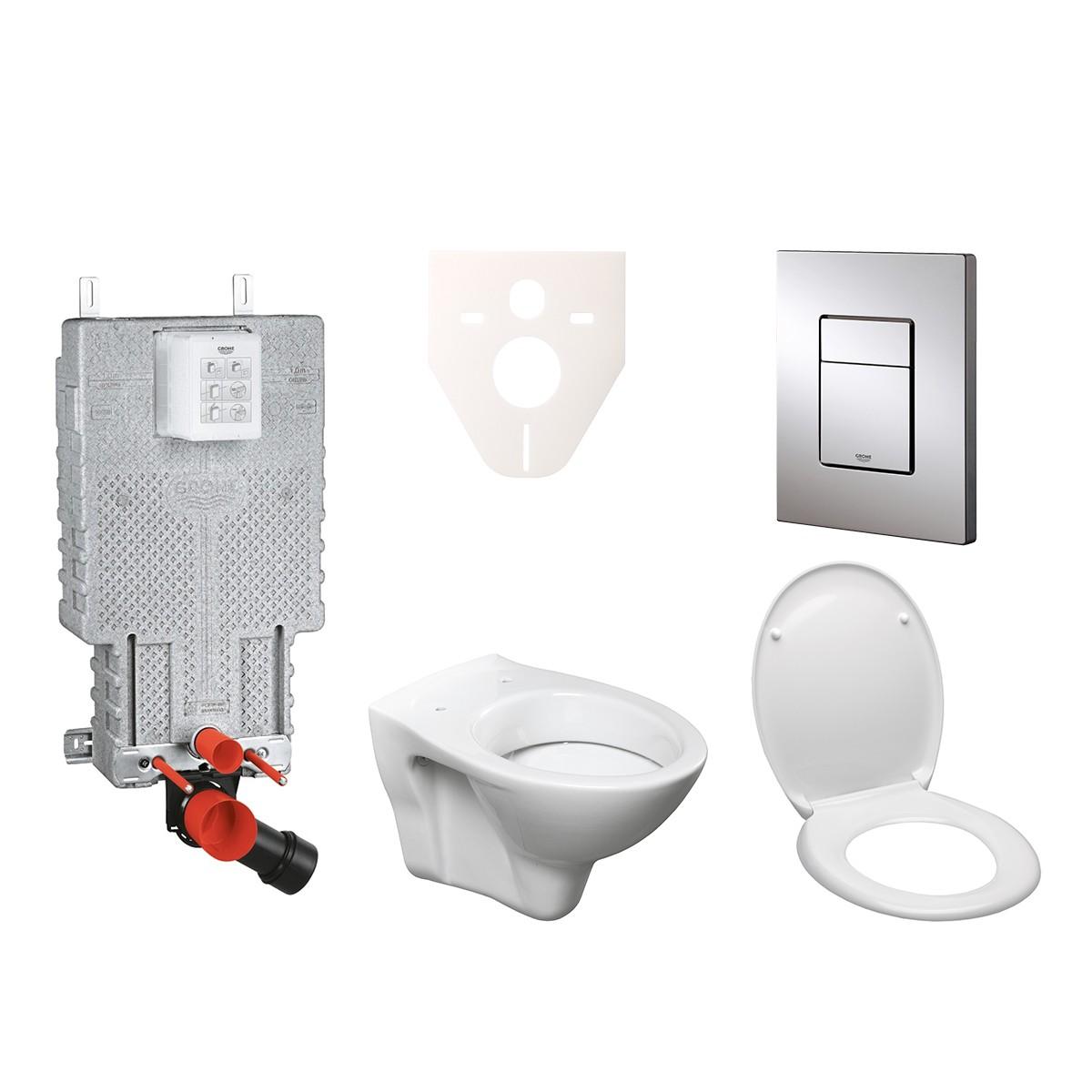 Závěsný set WC S-line + modul Grohe Uniset s tlačítkem Grohe Cosmo (chrom) 38643SET-KD