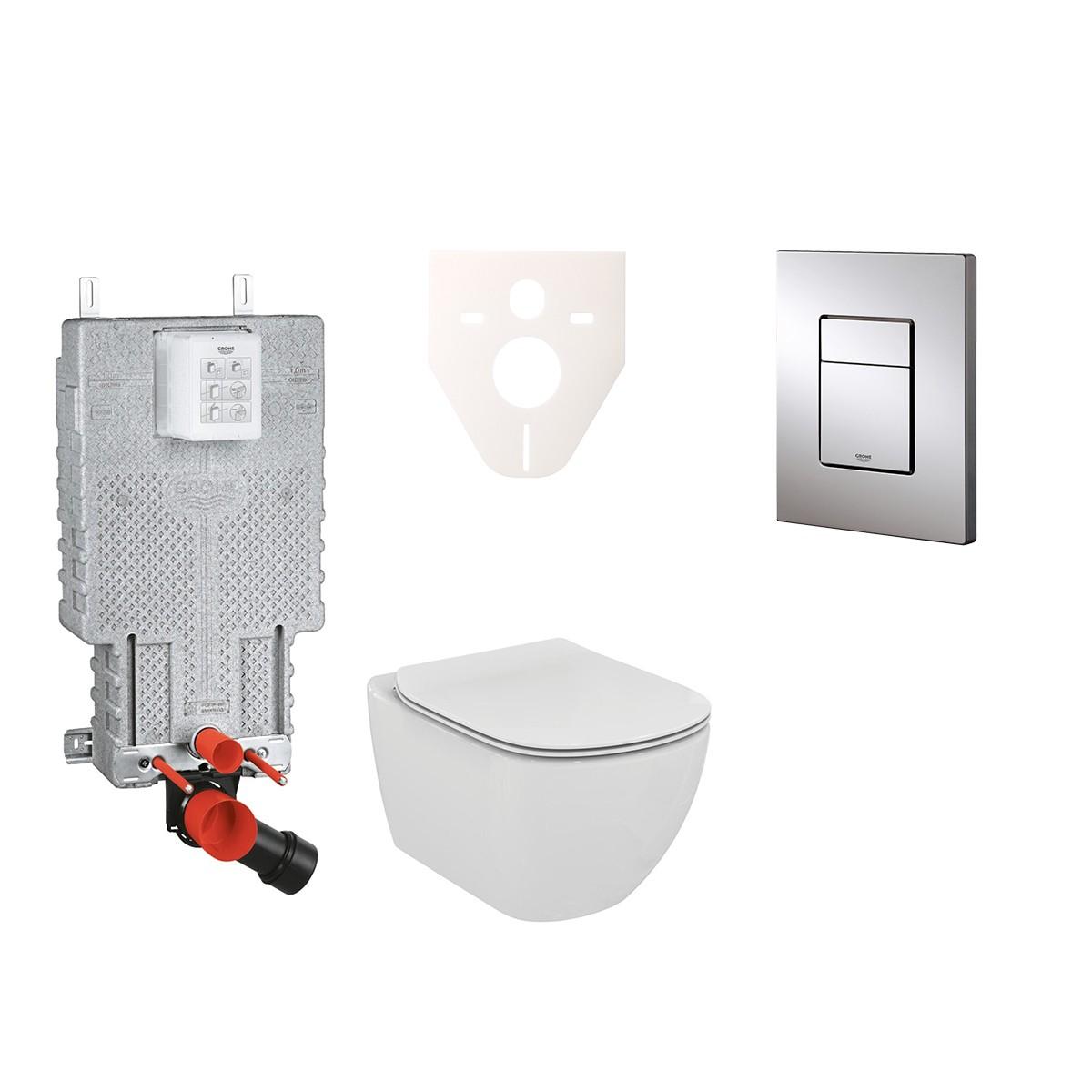 Závěsný set WC TESI Rimless + modul Grohe Uniset s tlačítkem Grohe Cosmo (chrom) 38643SET-KE