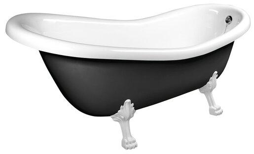 Volně stojící vana Polysan RETRO 173x75 cm akrylát levá i pravá černá/nohy bílé 72965