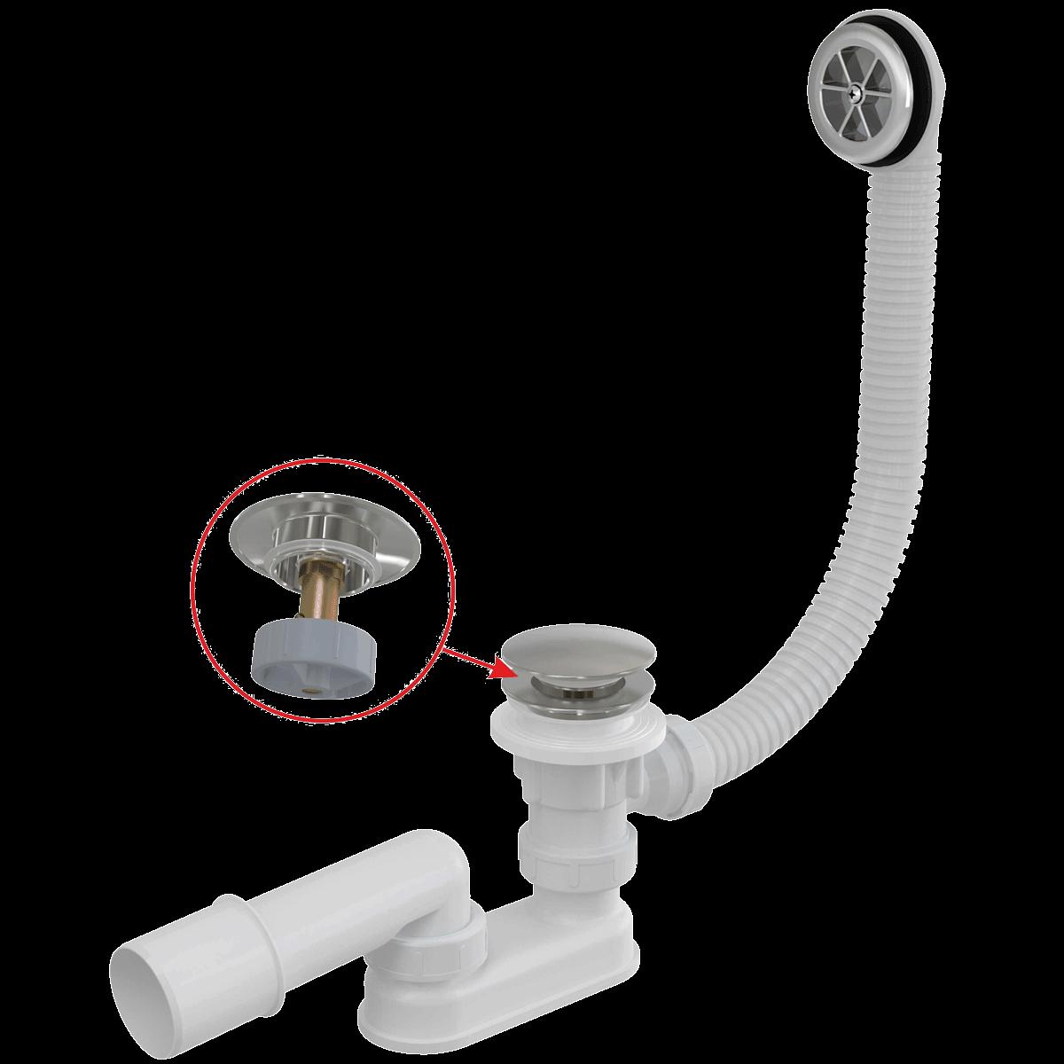 Vanový sifon Alcaplast click/clack, 120 cm, kov A505CKM120 - Alcaplast sifon vanový 120 cm, click/clack, kov, chrom A505CKM-120