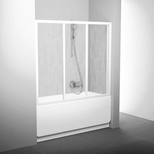 Fotografie Vanová zástěna třídílná 170 cm bílá (AVDP3-170 TRANSPARENT) Ravak