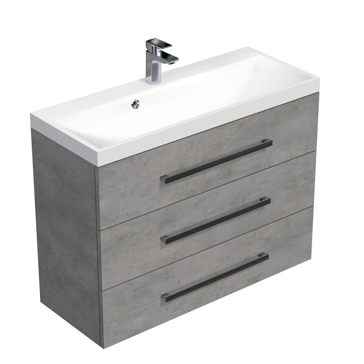 Koupelnová skříňka s umyvadlem Naturel Cube Way 100x76,5x40 cm beton CUBE21003BE