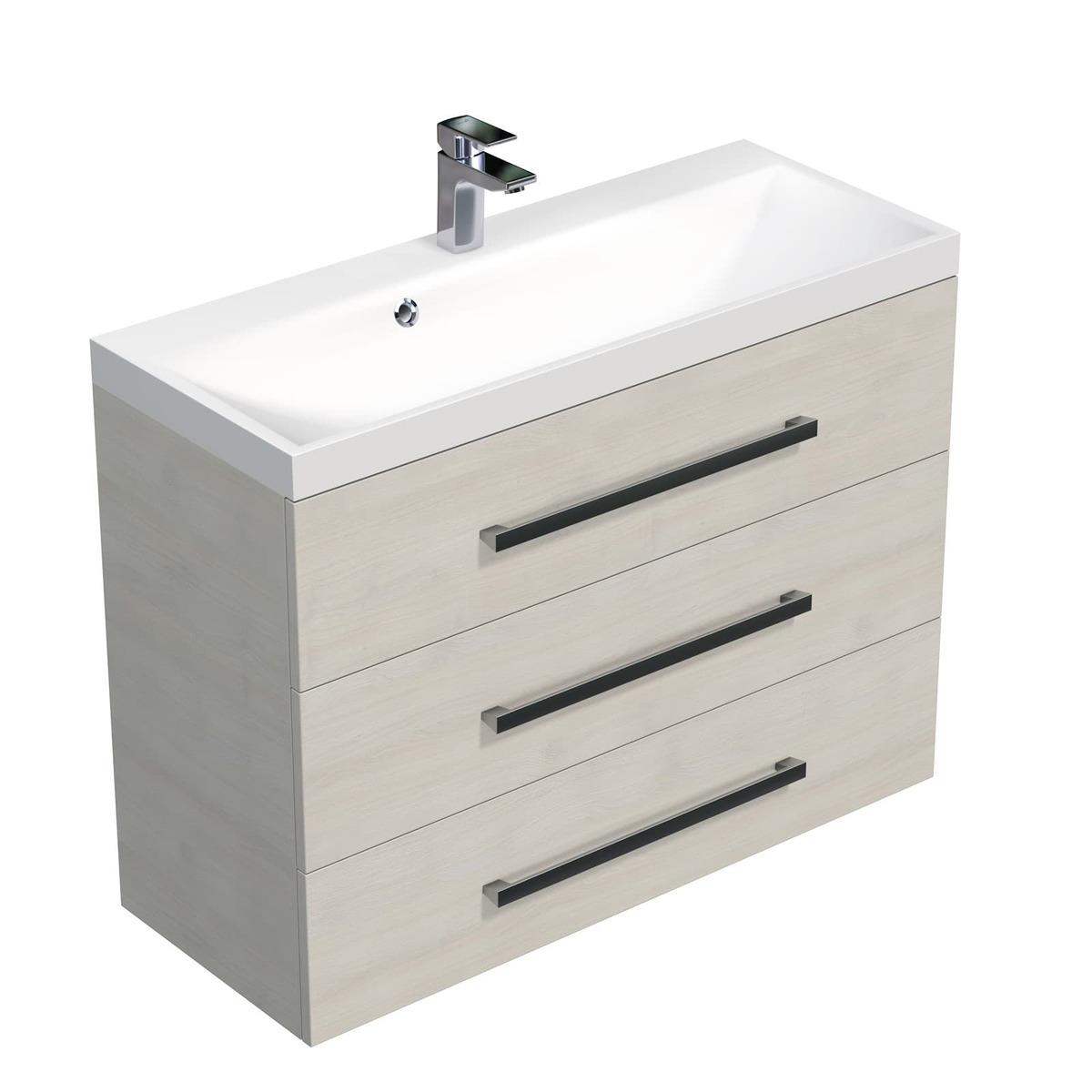 Koupelnová skříňka s umyvadlem Naturel Cube Way 100x76,5x40 cm dub chamonix CUBE21003DC