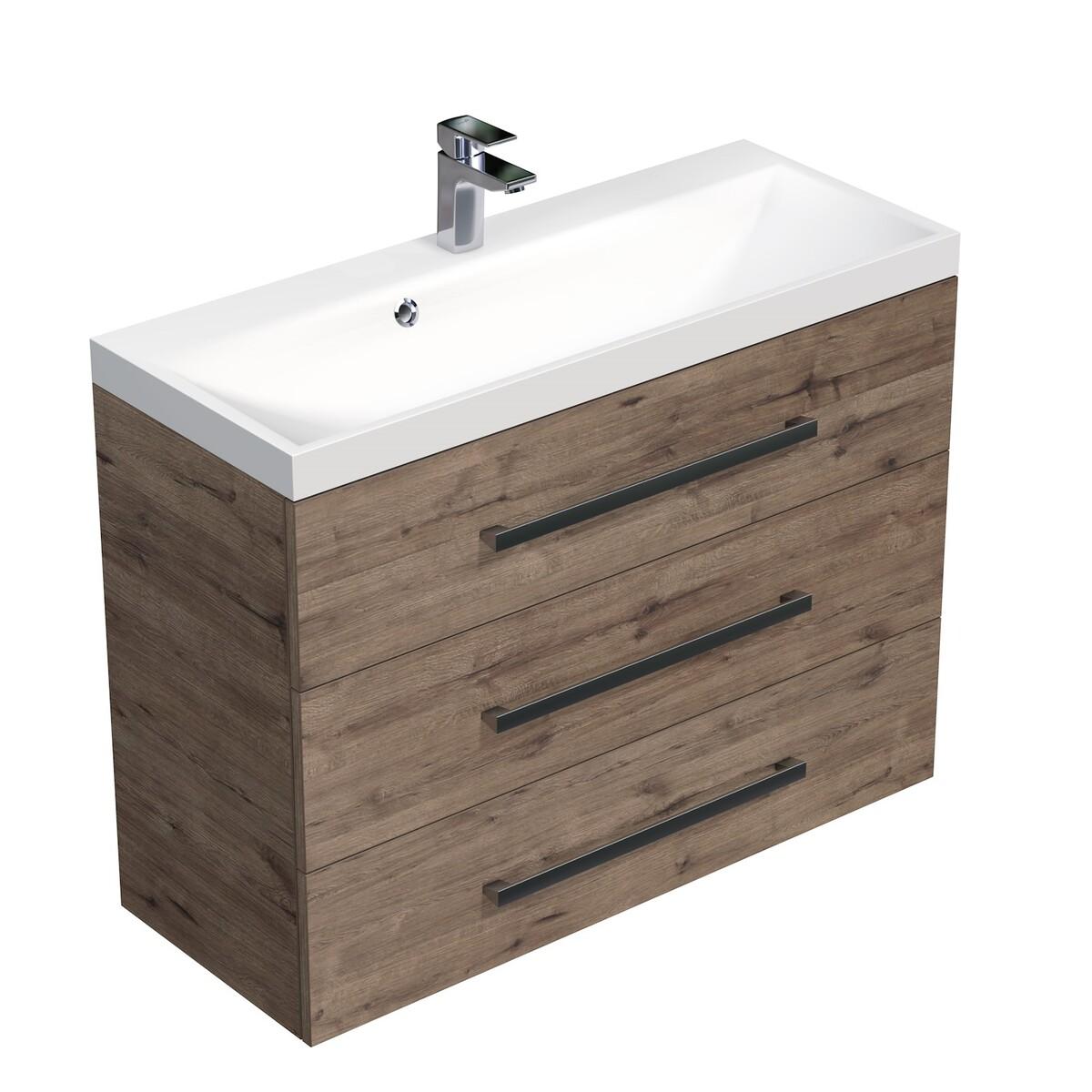 Koupelnová skříňka s umyvadlem Naturel Cube Way 100x76,5x40 cm dub wellington CUBE21003DW