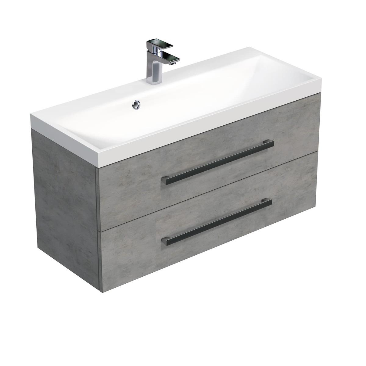 Koupelnová skříňka s umyvadlem Naturel Cube Way 100x53x40 cm beton CUBE2100ZBE