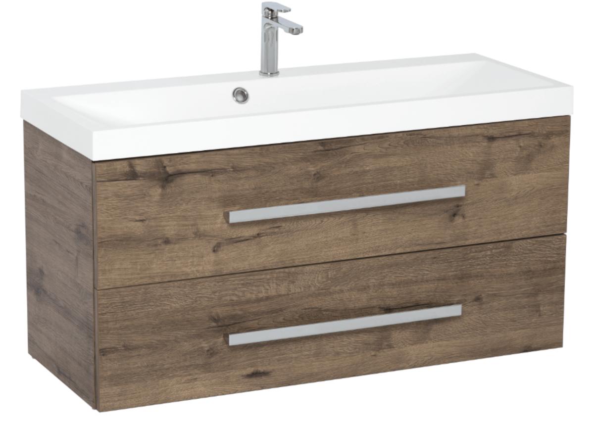 Koupelnová skříňka s umyvadlem Naturel Cube Way 100x40 cm dub wellington CUBE2100ZDW