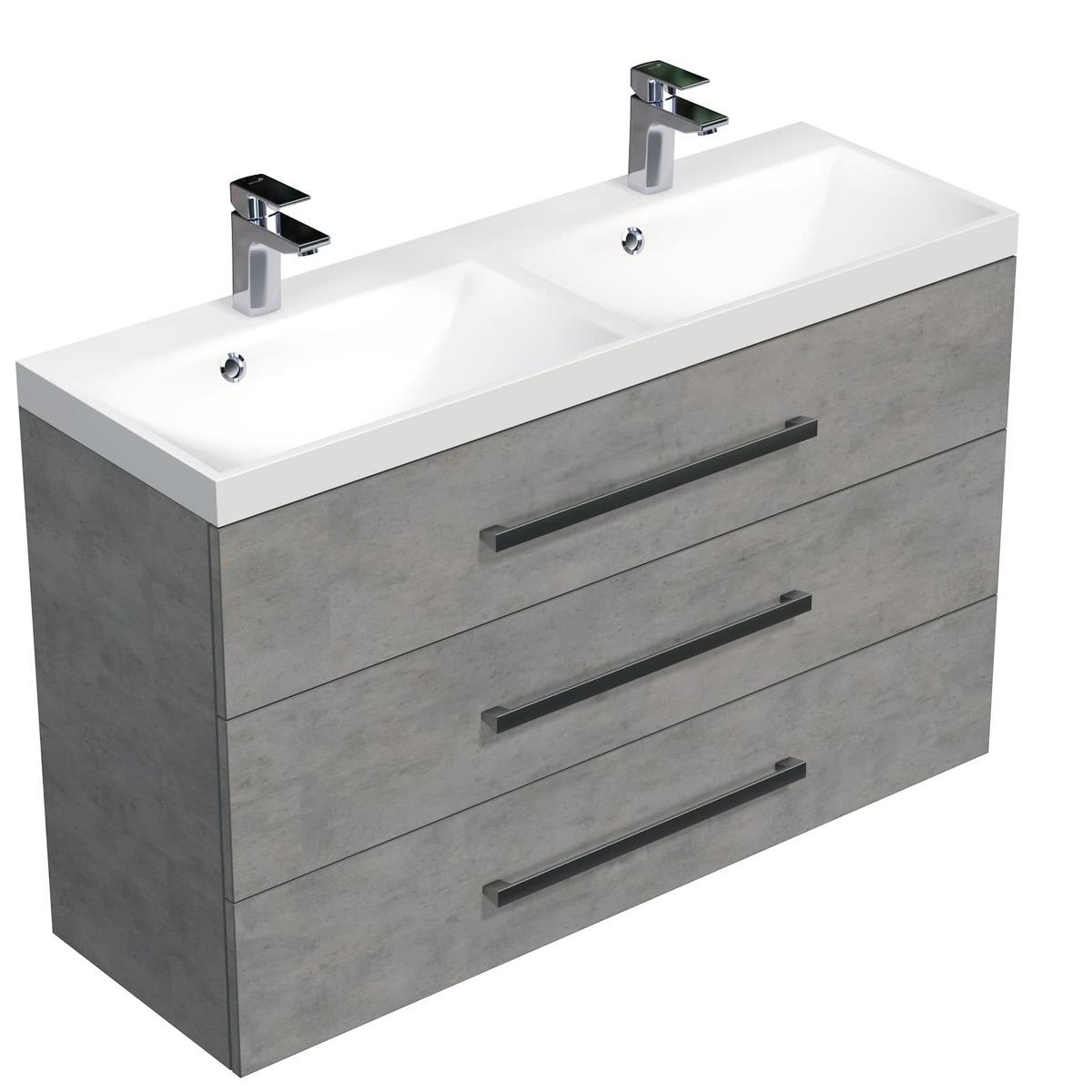 Koupelnová skříňka s umyvadlem Naturel Cube Way 120x76,5x40 cm beton CUBE21203BE