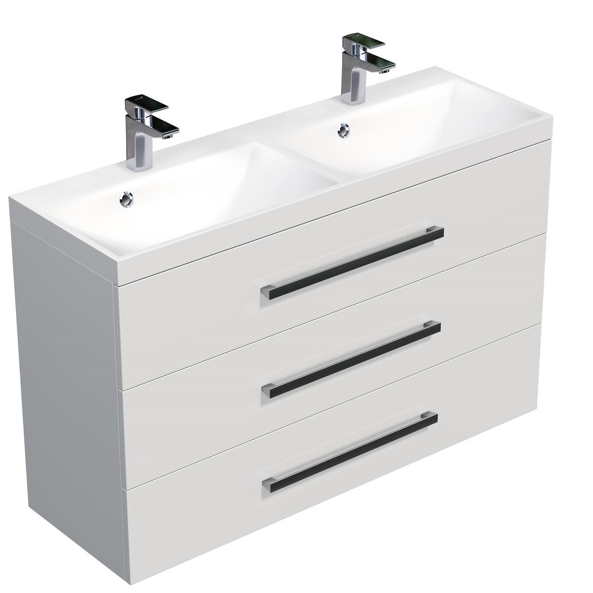 Koupelnová skříňka s umyvadlem Naturel Cube Way 120x76,5x40 cm bílá lesk CUBE21203BL