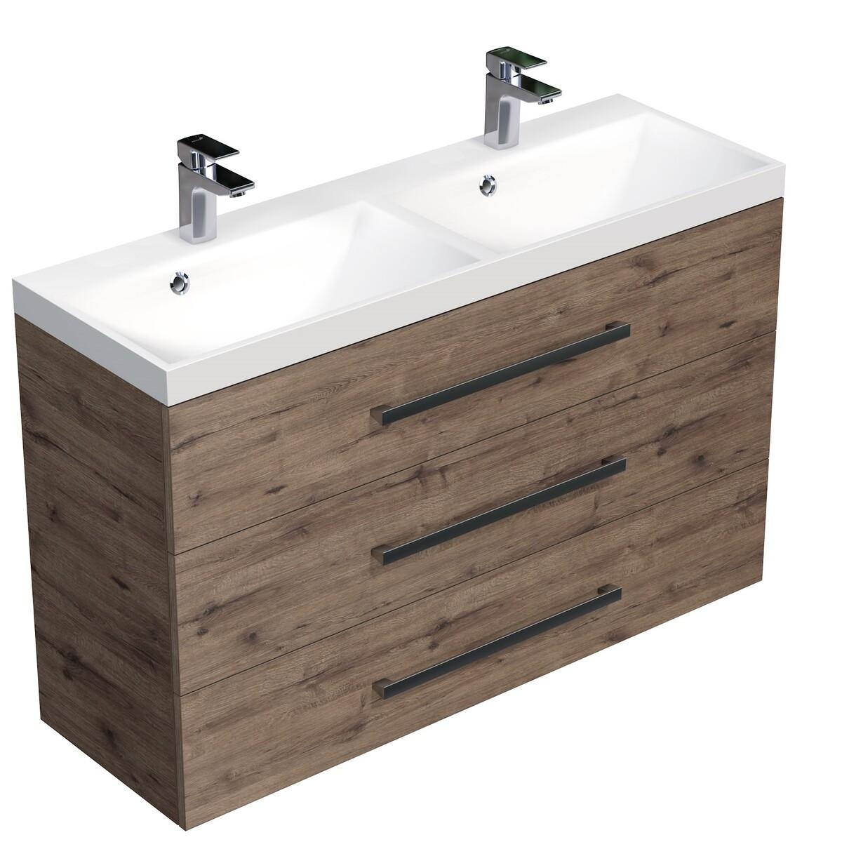 Koupelnová skříňka s umyvadlem Naturel Cube Way 120x76,5x40 cm dub wellington CUBE21203DW