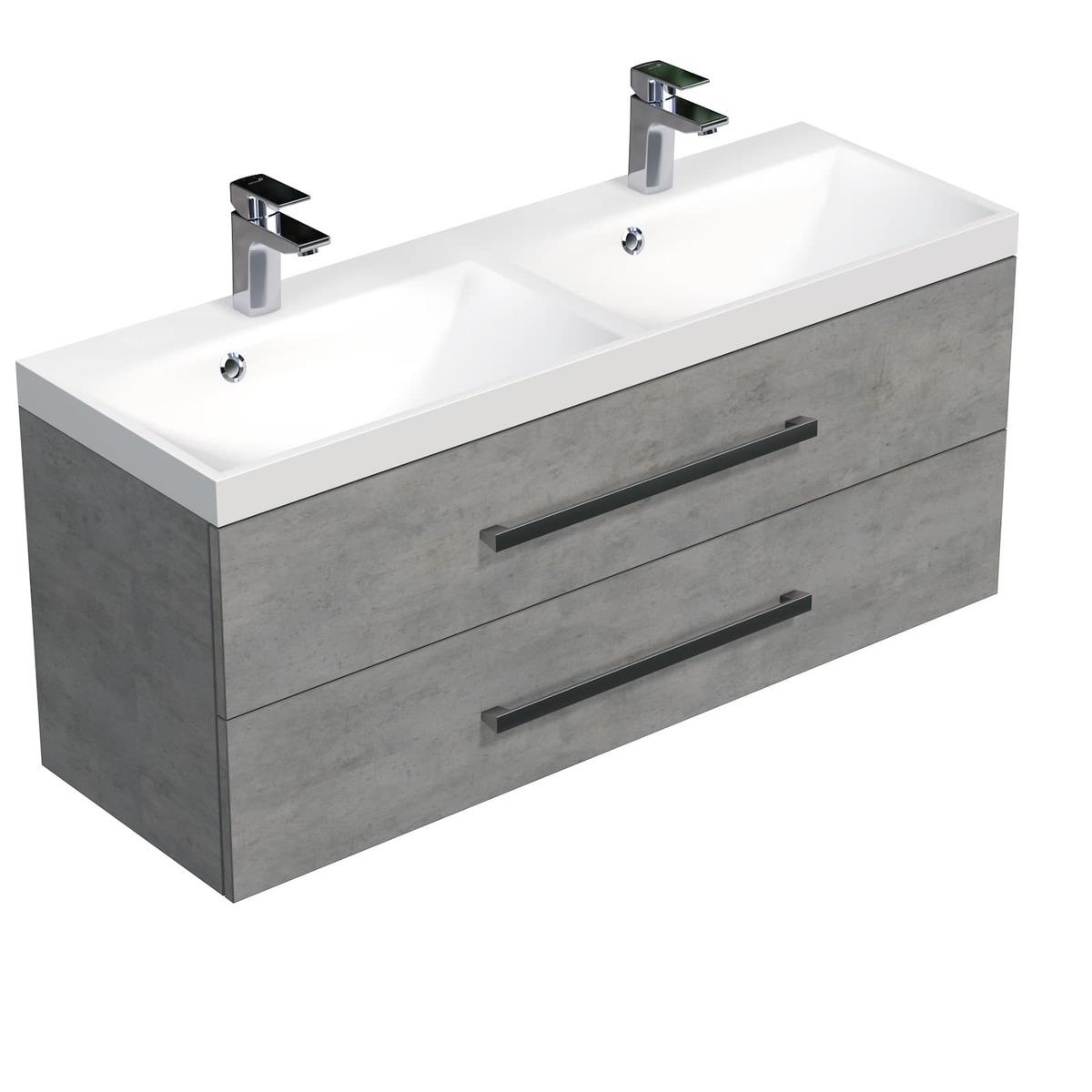 Koupelnová skříňka s umyvadlem Naturel Cube Way 120x53x40 cm beton CUBE2120ZBE