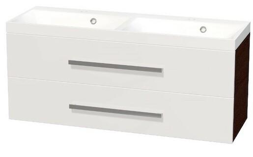 Koupelnová skříňka s umyvadlem Naturel Cube Way 120x40 cm bílá/wenge CUBE2120ZW