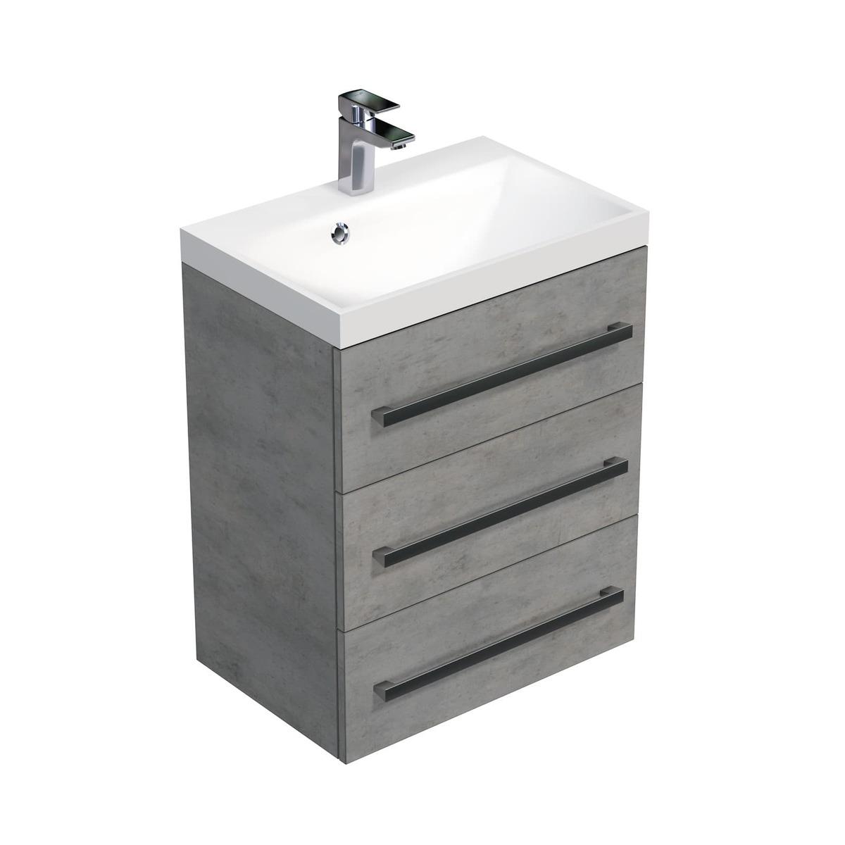 Koupelnová skříňka s umyvadlem Naturel Cube Way 60x76,5x40 cm beton CUBE2603BE