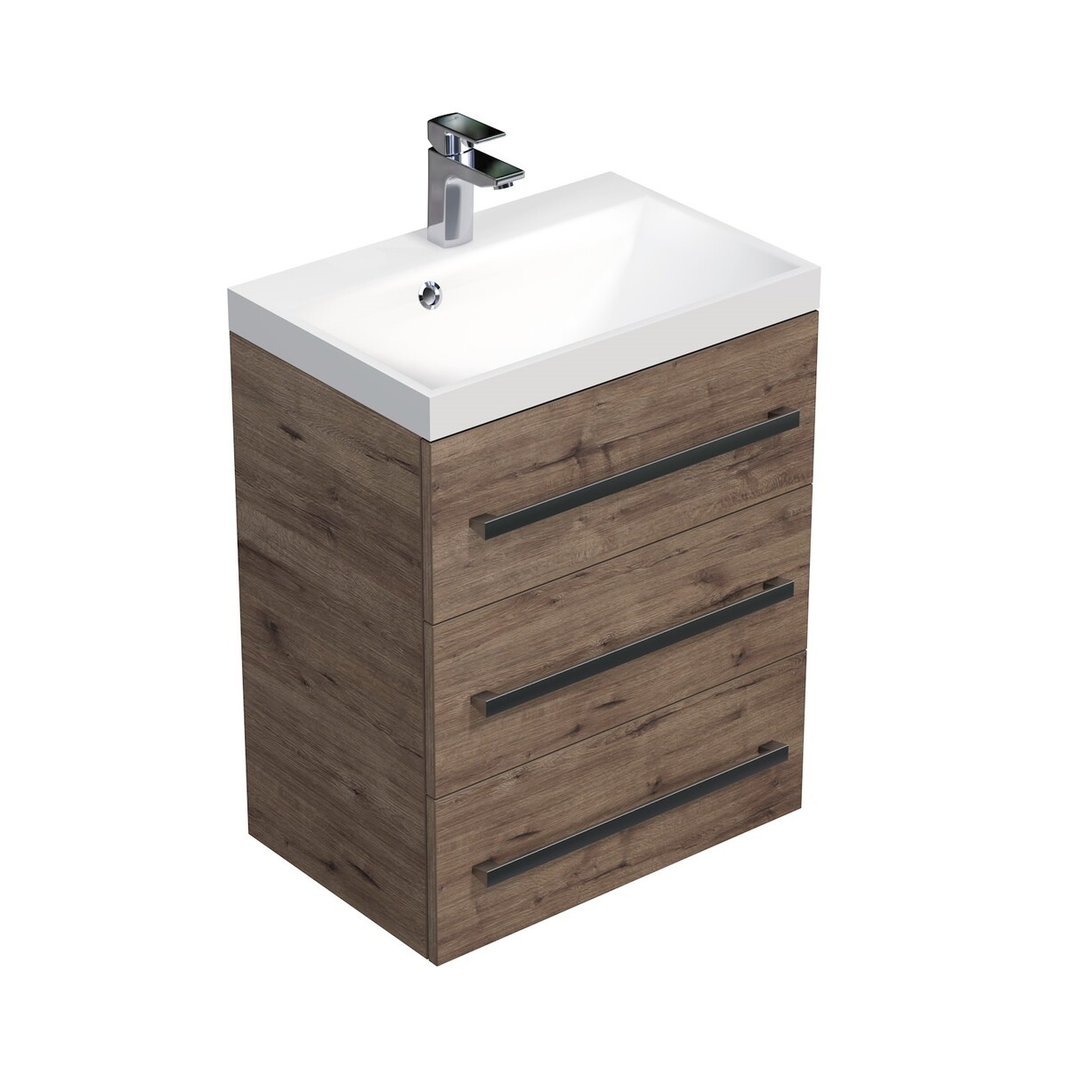Koupelnová skříňka s umyvadlem Naturel Cube Way 60x76,5x40 cm dub wellington CUBE2603DW