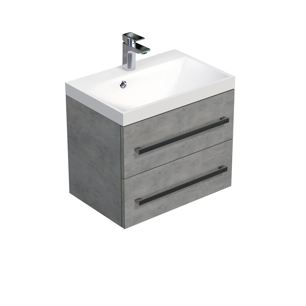 Koupelnová skříňka s umyvadlem Naturel Cube Way 60x53x40 cm beton CUBE260ZBE