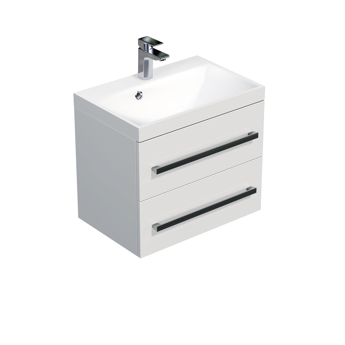 Koupelnová skříňka s umyvadlem Naturel Cube Way 60x40 cm bílá lesk CUBE260ZBL