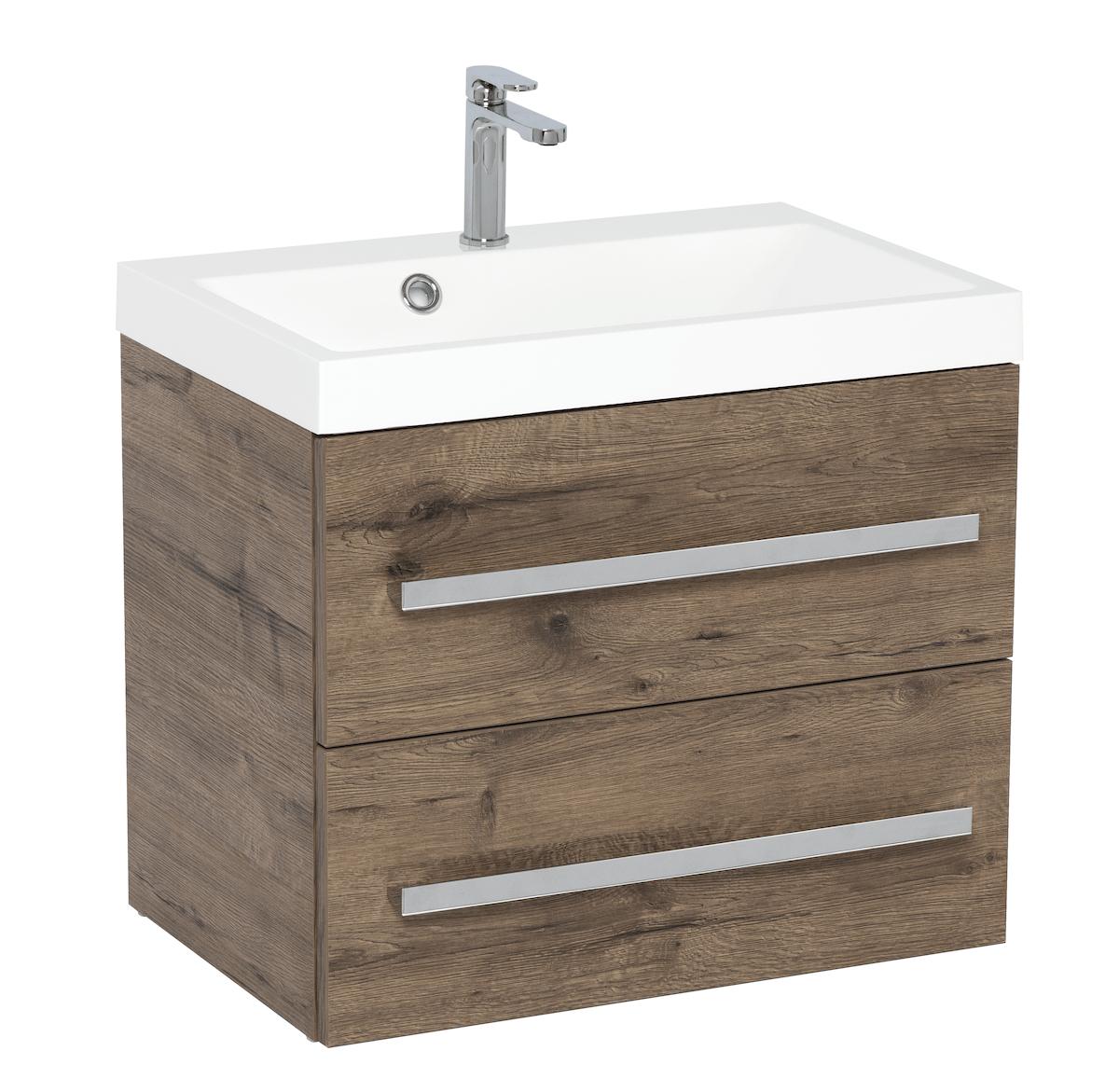 Koupelnová skříňka s umyvadlem Naturel Cube Way 60x40 cm dub wellington CUBE260ZDW