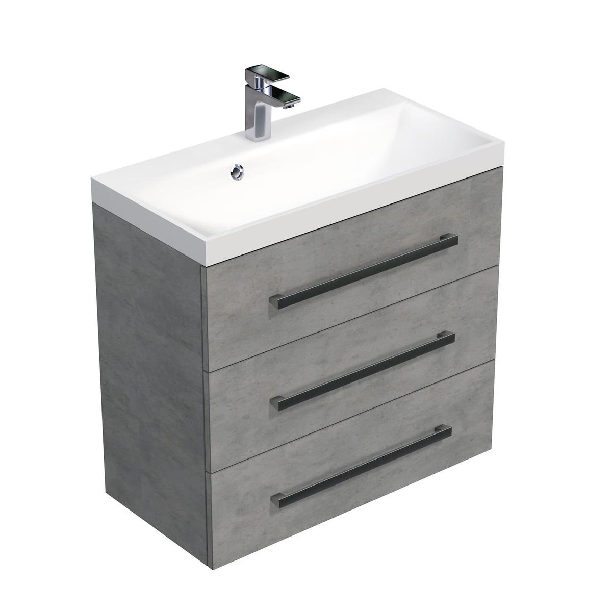 Koupelnová skříňka s umyvadlem Naturel Cube Way 80x76,5x40 cm beton CUBE2803BE