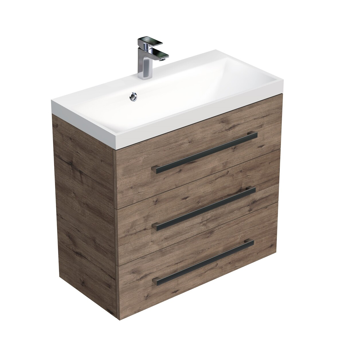 Koupelnová skříňka s umyvadlem Naturel Cube Way 80x76,5x40 cm dub wellington CUBE2803DW