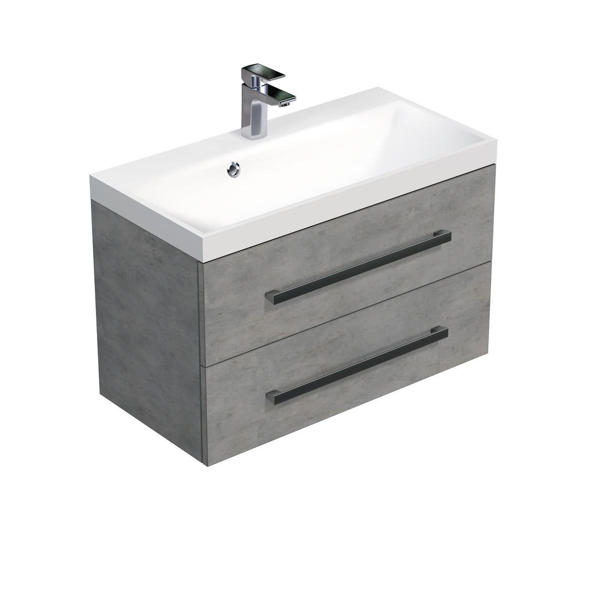 Koupelnová skříňka s umyvadlem Naturel Cube Way 80x53x40 cm beton CUBE280ZBE
