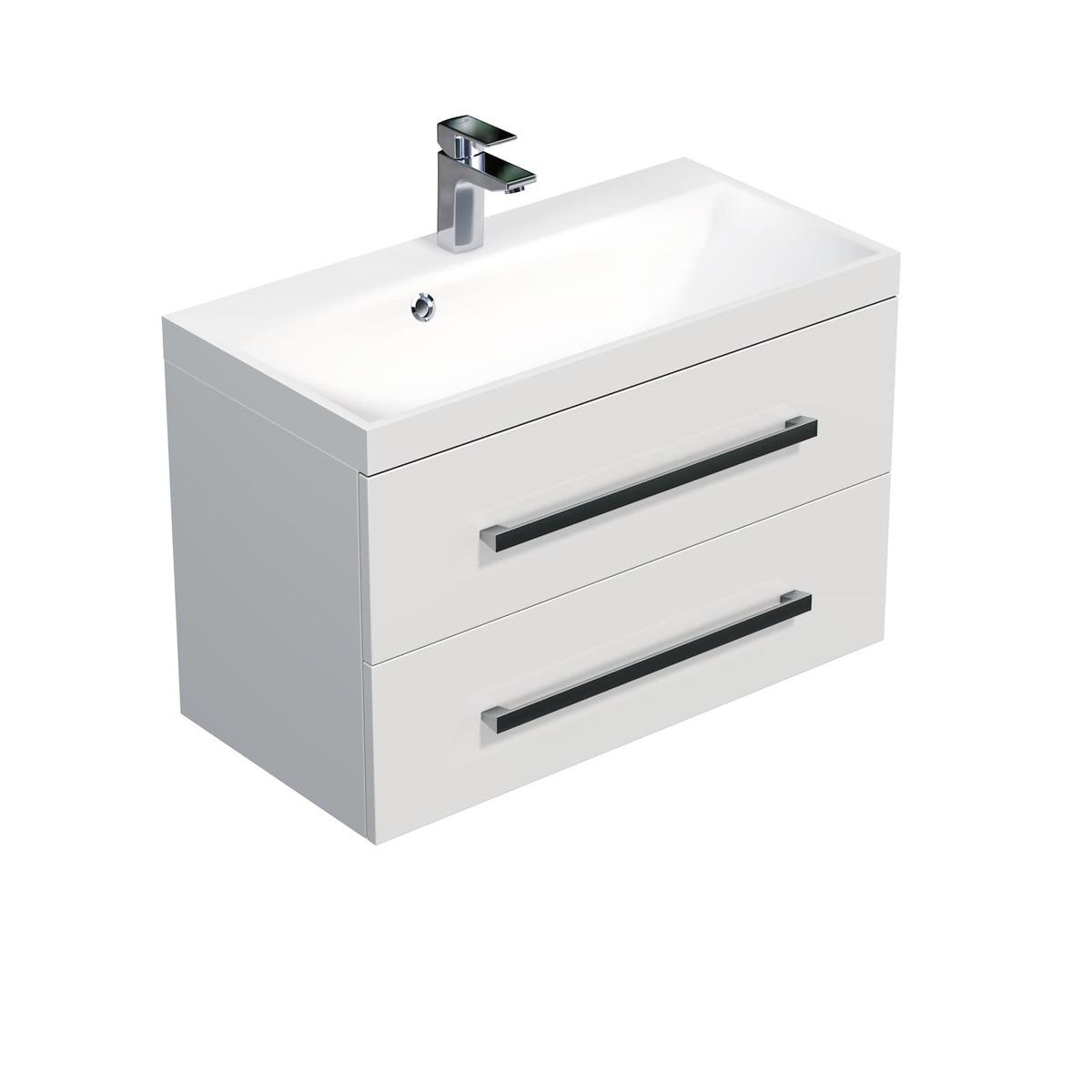 Koupelnová skříňka s umyvadlem Naturel Cube Way 80x40 cm bílá leskCUBE280ZBL