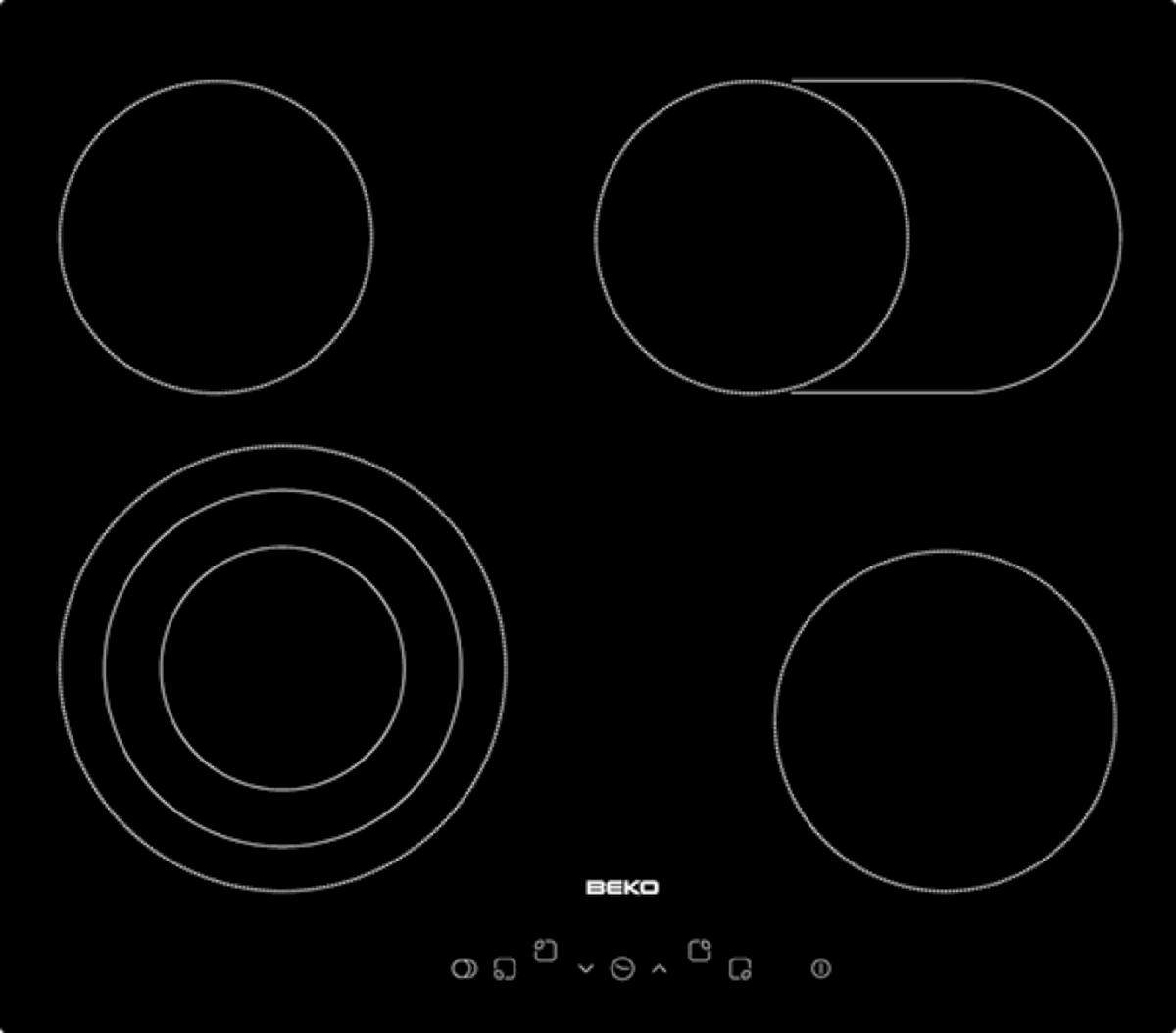 Sklokeramická varná deska Beko černá HIC64404T