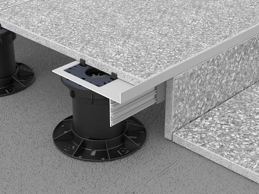 Soklová hliníková lišta Prosupport profile T, elox grey 20/2700mm, k terčům pod 2cm dlažbu, PSPRPT20ALGF