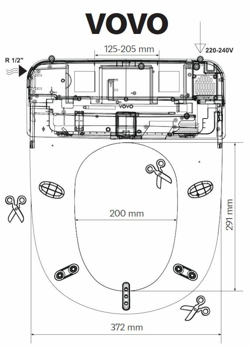 Šablona bidetovacího sedátka VB3100S/VB4100S