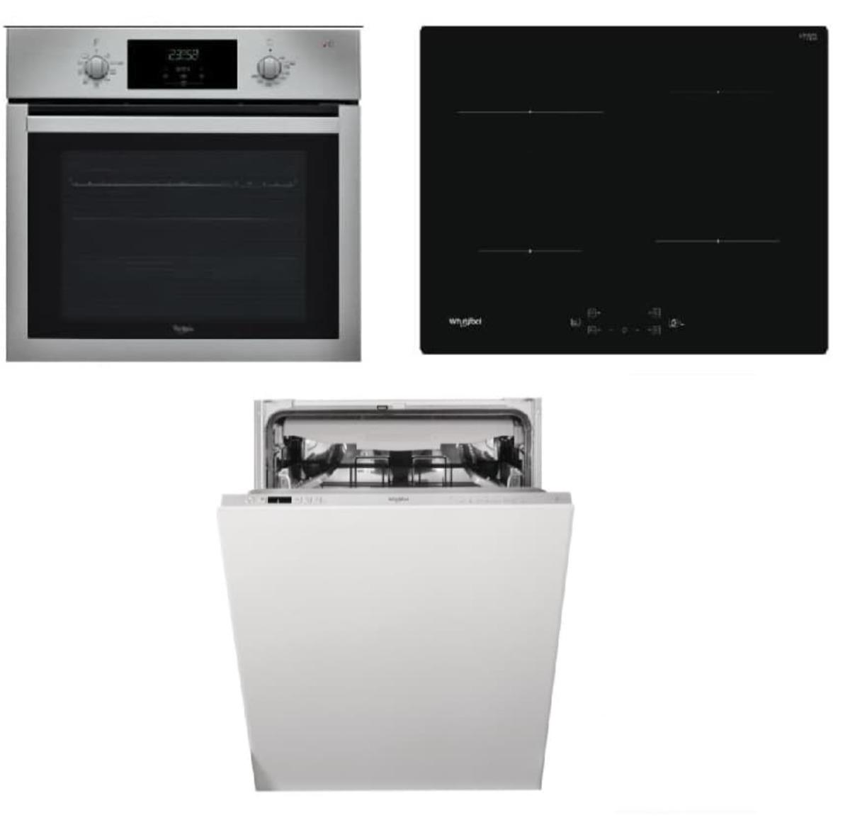 Set spotřebičů Whirlpool trouba AKP742IX + indukční deska WSQ7360NE + vestavná myčka 60cm WIC3C26F