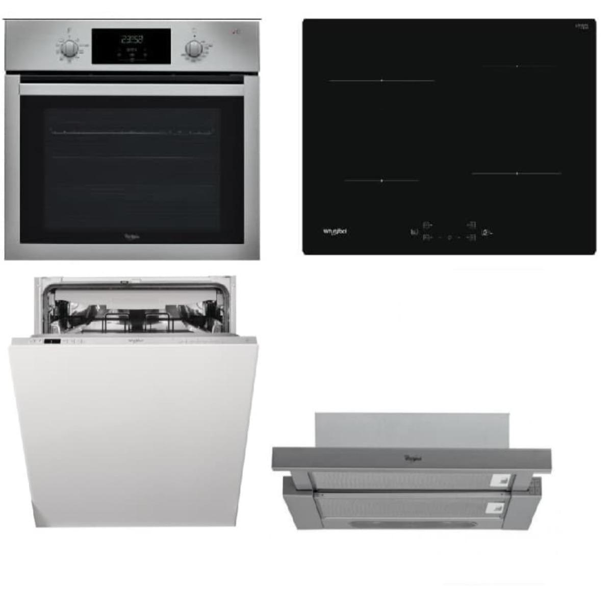 Set spotřebičů Whirlpool trouba AKP742IX + indukční deska WSQ7360NE + vestavná myčka 60cm WIC3C26F + výsuvná digestoř 60cm AKR7491IX