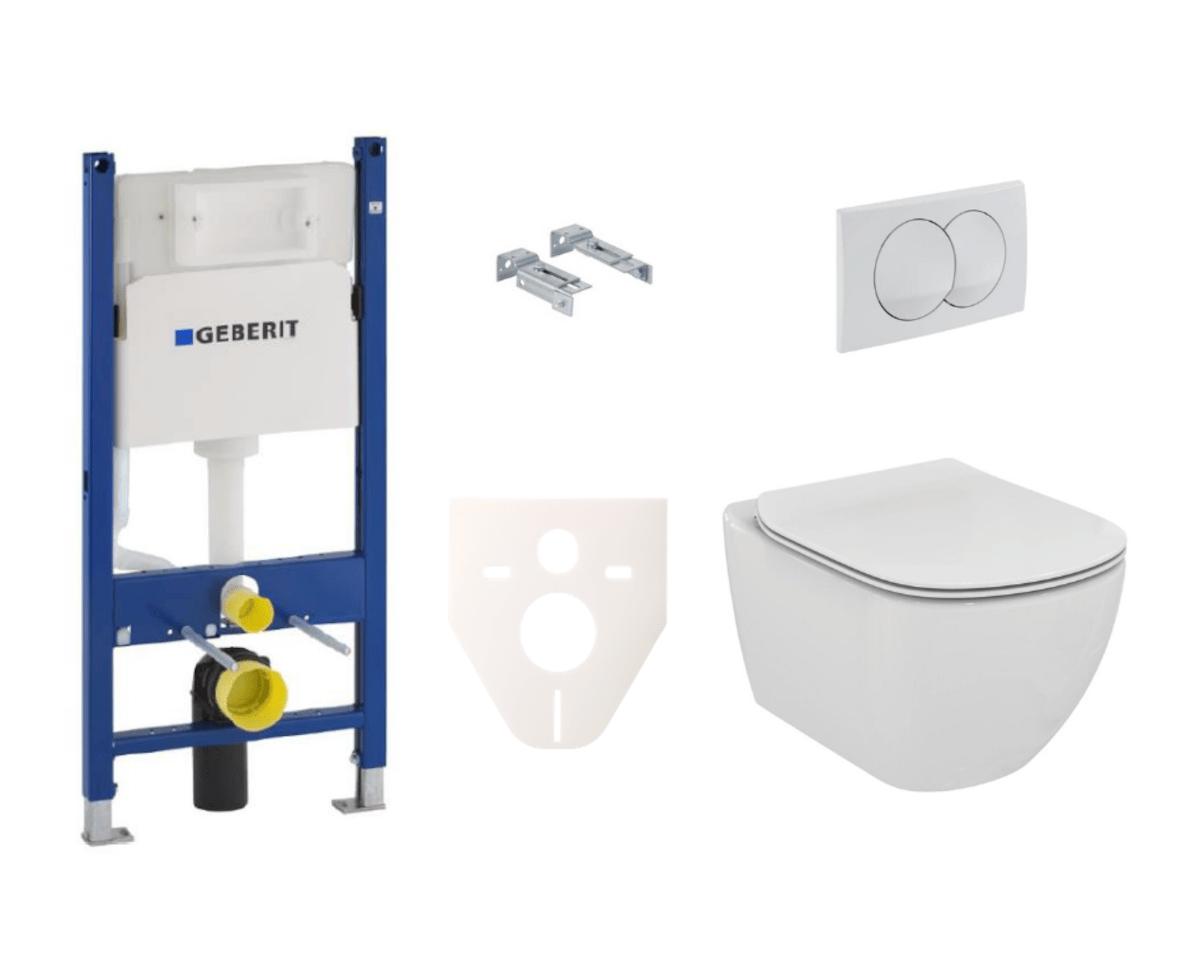 Závěsný set WC rimless TESI Ideal Standard + modul Geberit Duofix s tlačítkem Delta 20 bílé SIKOGES5