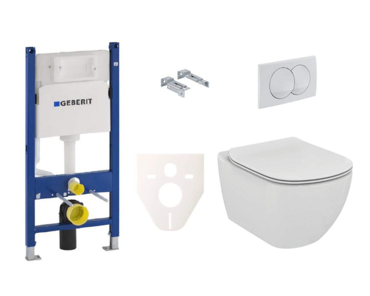 Závěsný set WC TESI Ideal Standard + modul Geberit Duofix s tlačítkem Delta 20 bílé SIKOGES5F0