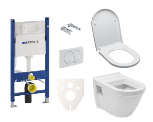 Závěsný set WC S50 Vitra + modul Geberit Duofix s tlačítkem Delta 20 bílé SIKOGES5V0