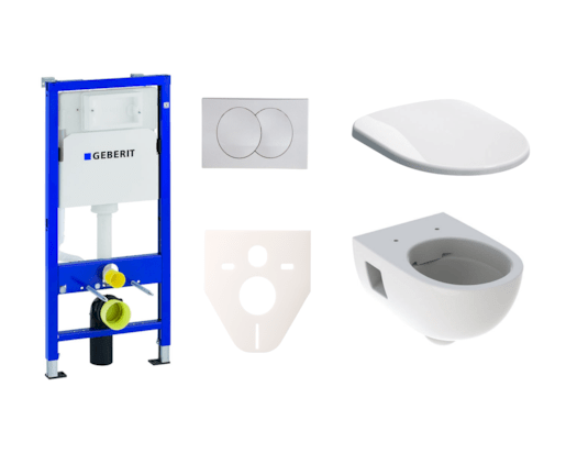 Závěsný set WC Geberit Selnova + modul Geberit Duofix s tlačítkem Delta 20 (bílá lesk)