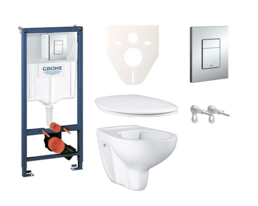 Závěsný set WC Bau Ceramic, nádržka Grohe Rapid SL, tlačítko Skate Cosmopolitan a upevňovací šrouby SIKOGRS3G0