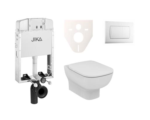 Závěsný set WC Esedra Aquablade, nádržka JIKA k zazdění, tlačítko bílé SIKOJI1