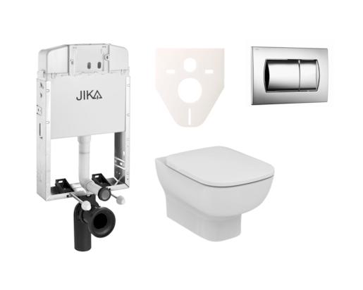 Závěsný set WC Esedra Aquablade, nádržka JIKA k zazdění, tlačítko chrom lesk SIKOJI2