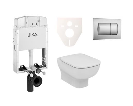 Závěsný set WC Esedra Aquablade, nádržka JIKA k zazdění, tlačítko chrom mat SIKOJI3