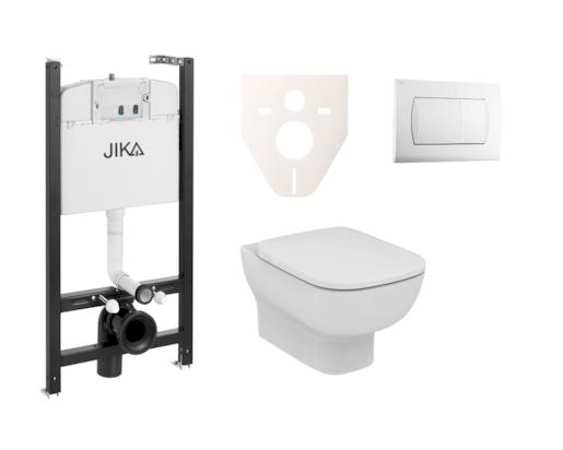 Závěsný set WC Esedra Aquablade, nádržka JIKA do sádrokartonu, tlačítko bílé SIKOJSI1