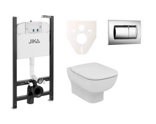 Závěsný set WC Esedra Aquablade, nádržka JIKA do sádrokartonu, tlačítko chrom lesk SIKOJSI2