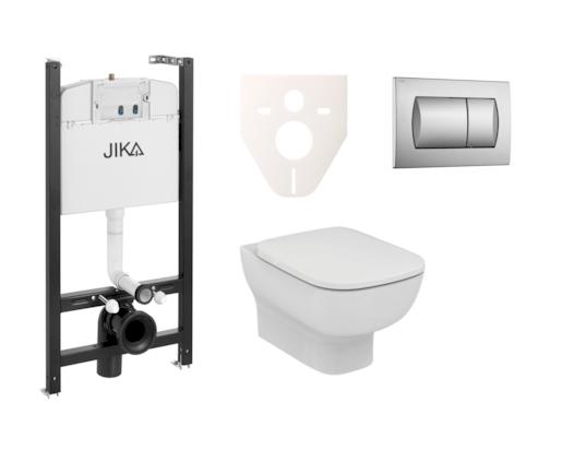 Závěsný set WC Esedra Aquablade, nádržka JIKA do sádrokartonu, tlačítko chrom mat SIKOJSI3