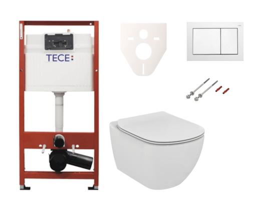 Závěsný set WC Ideal Standard TESI + modul TECE s tlačítkem TECEbase (bílá) SIKOTSE0