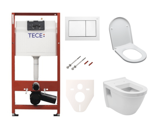Závěsný set WC Vitra S50 + modul TECE s tlačítkem TECEbase (bílá) SIKOTSV0