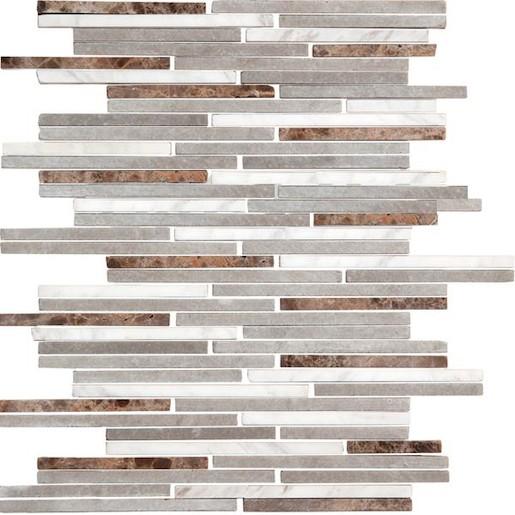 Mozaika kamenná bílo-šedo-hnědé cihly 24,5x30,5 STMOS7140MIX1 Premium mosaic stone